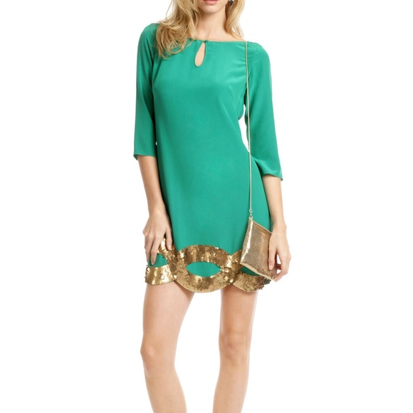 2fd6e8e1dd5 Trina Turk Silk + Sequin Shift Dress. M 5b4e6e183c9844080689d1ca